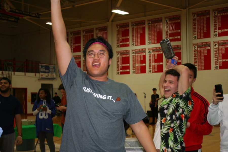 Sul celebrates after winning last year's Wing Bowl competition.