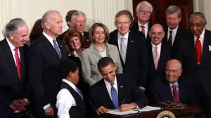 Former President Barack Obama signs the Affordable Care Act into law on March 23, 2010.