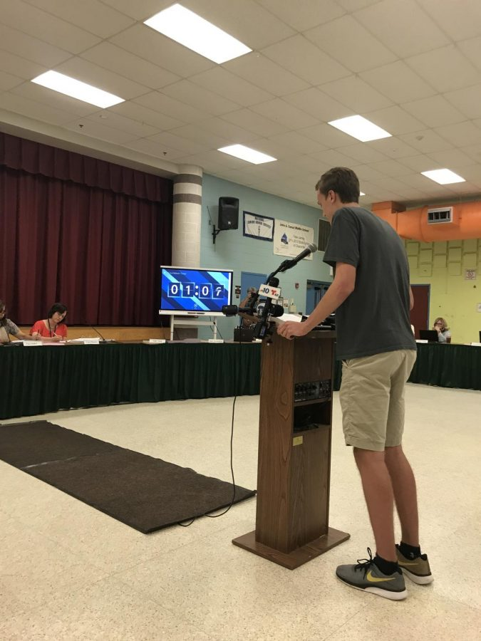 East+student+body+president+Oliver+Adler+%2820%29+speaking+at+the+August+27th+board+meeting+on+behalf+of+the+East+SGA.