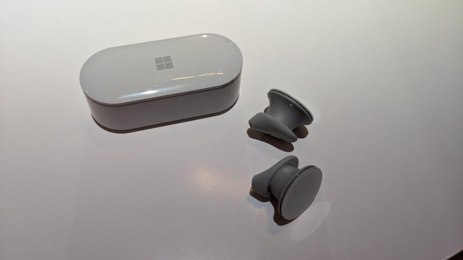 The+Surface+Earbuds+and+their+carrying+case.