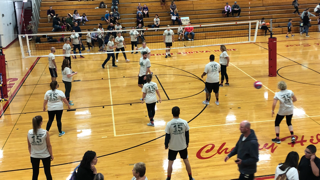 The Cherry Hill teachers gather to play a game of volleyball at Cherry Hill East.