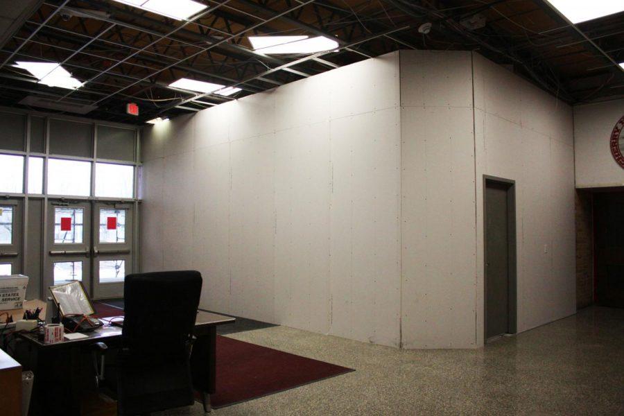 A security vestibule is under construction.