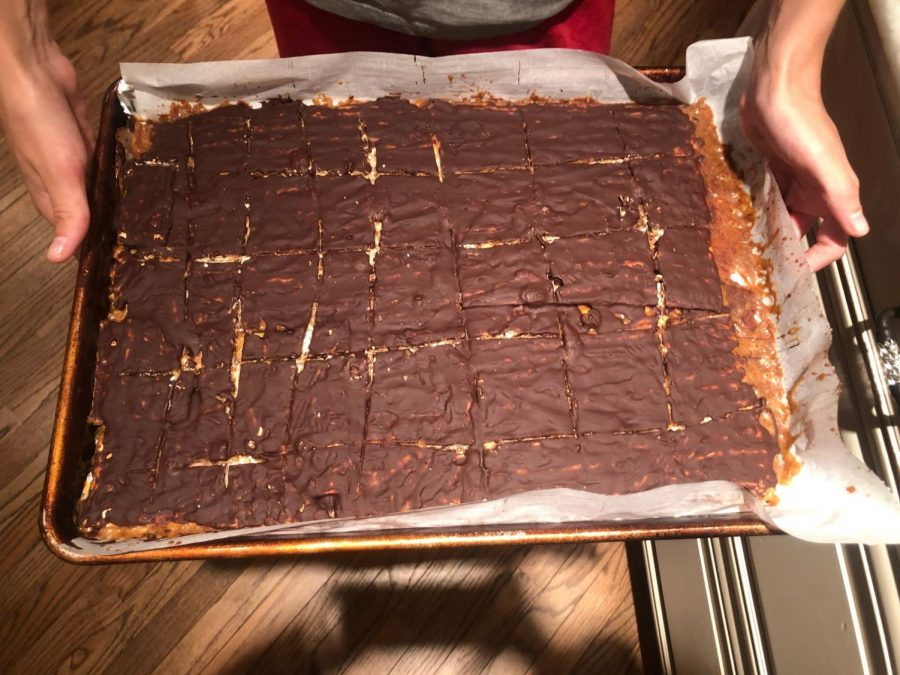 Delicious toffee matzah fresh from the refrigerator.