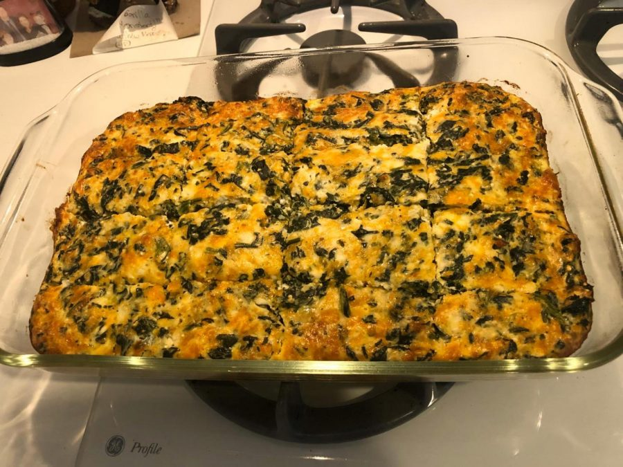 Delicious spinach casserole on display, fresh from the oven.