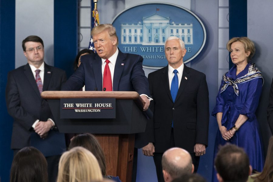 Donald Trump talks to the press on the COVID-19 pandemic.