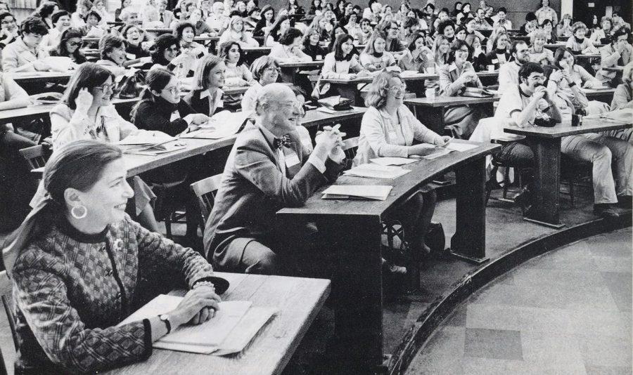 Ruth Bader Ginsburg (far left) sits in a Harvard classroom.