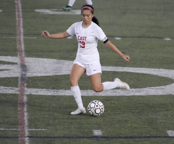 Alyssa Bui ('21) sends a through ball in the second half of a win over Camden Catholic on Wednesday. She would finish off a great team build up later in the game for her first goal on the year.