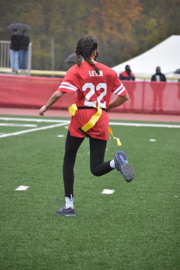 Powder puff players remain safe during the game on November 1st. Devyn Levin ('22) pictured above.