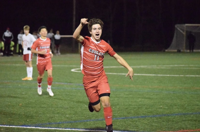 Luke Luehrs celebrates after a Samelko goal late in the second half.