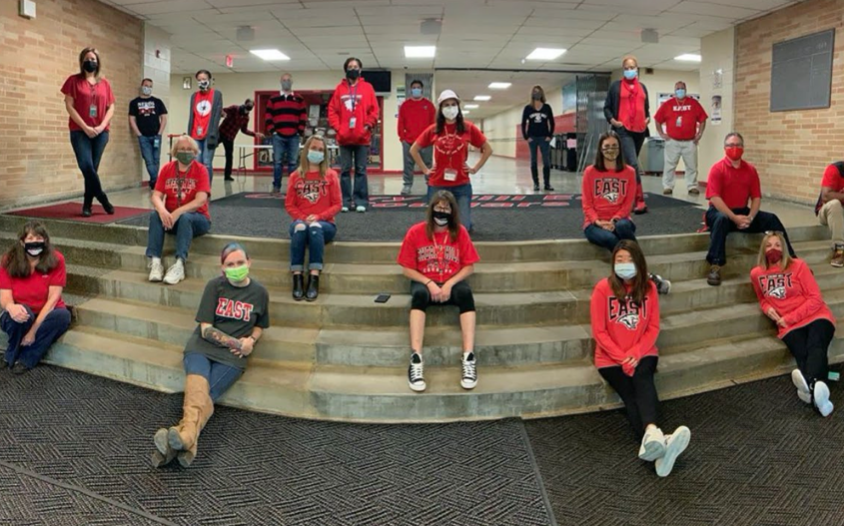 Teachers+at+Cherry+Hill+East+dress+in+all+East+clothing+gear+for+Red+Ribbon+Week.%0A