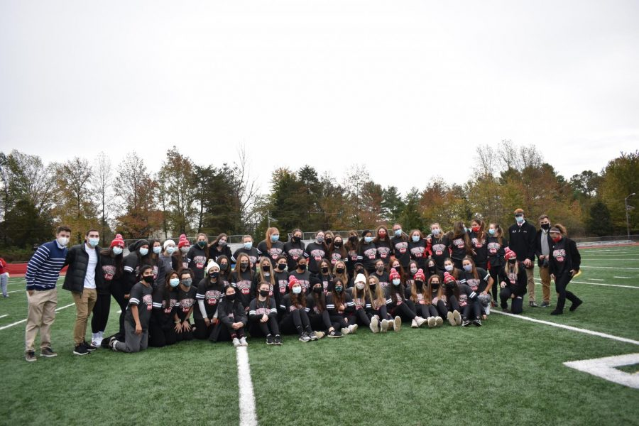 Cherry Hill East girls gathered at the school football field to play some football.