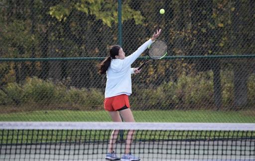 Sophia Liu prepares to serve the ball against Williamstown in the quarterfinal round of the NJSIAA southwest Group 4 tennis tournament.