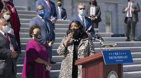 Rep. Terri Sewell, D-Ala., speaks at the Capitol to answer questions on the For the People Act.