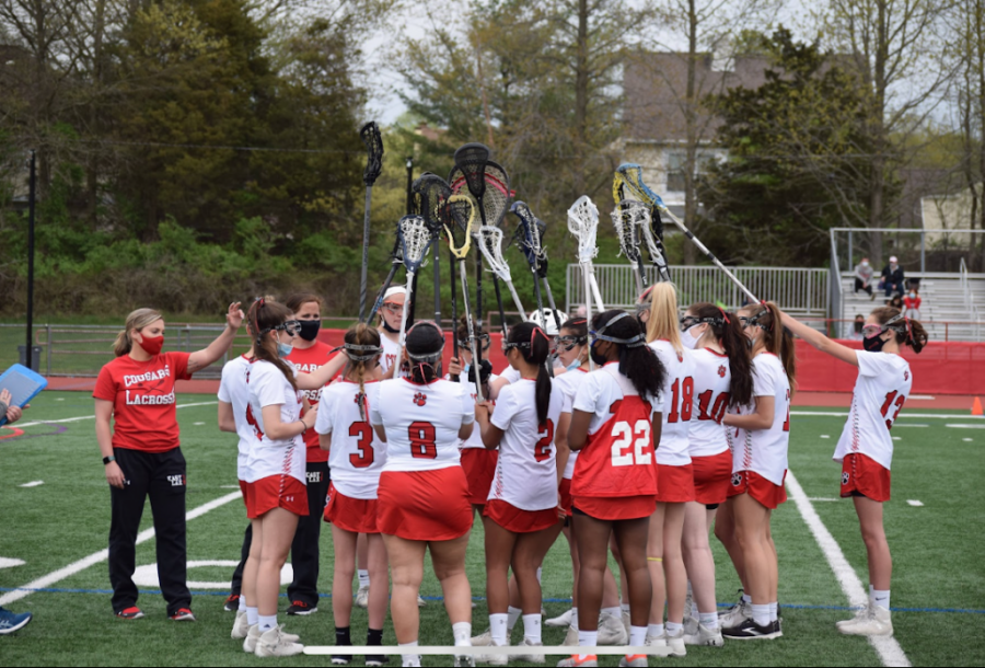 Girls lacrosse gets together in preparation to take on Bishop Eustace on Monday.