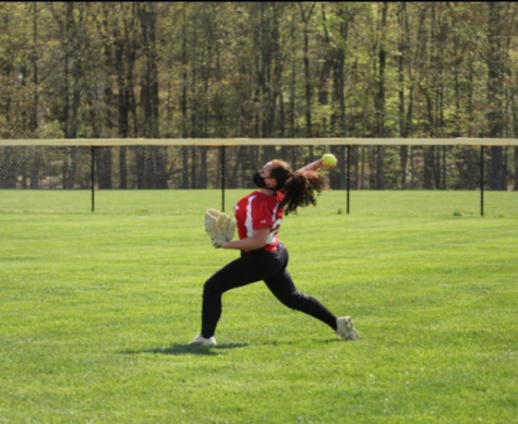 Senior Rachel Bliss throws the softball to the infield during warmups.