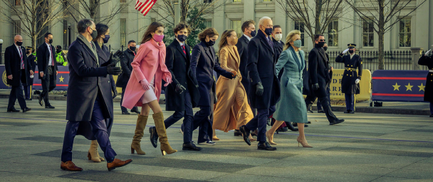 Krein (far left) walks with newly-inaugurated President, Joe Biden; First Lady Jill Biden; his wife, Ashley Biden; and the rest of the family near the White House.