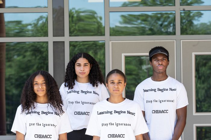 Some of the students who helped push for a mandatory African American history course are shown (Left to Right): Joy Thomas, Machayla Randall, Xandria McKinley, and Obinna Okorie, in front of Cherry Hill East High School last June.
