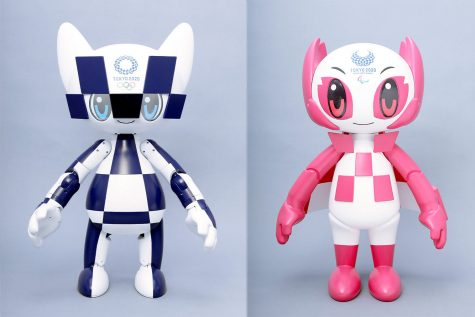 Miraitowa and Someity, the robot mascots of the Tokyo Olympics, welcomed athletes to the games.